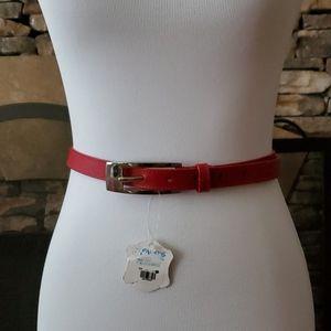 Pavirs Red  Skinny Leather Belt